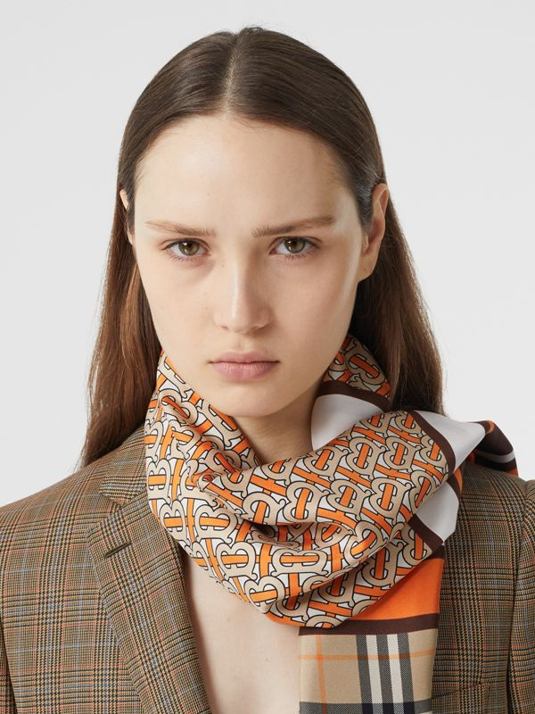 Monogram, Icon Stripe and Check Print Silk Scarf in Bright Orange | Burberry United Kingdom - cell image 2