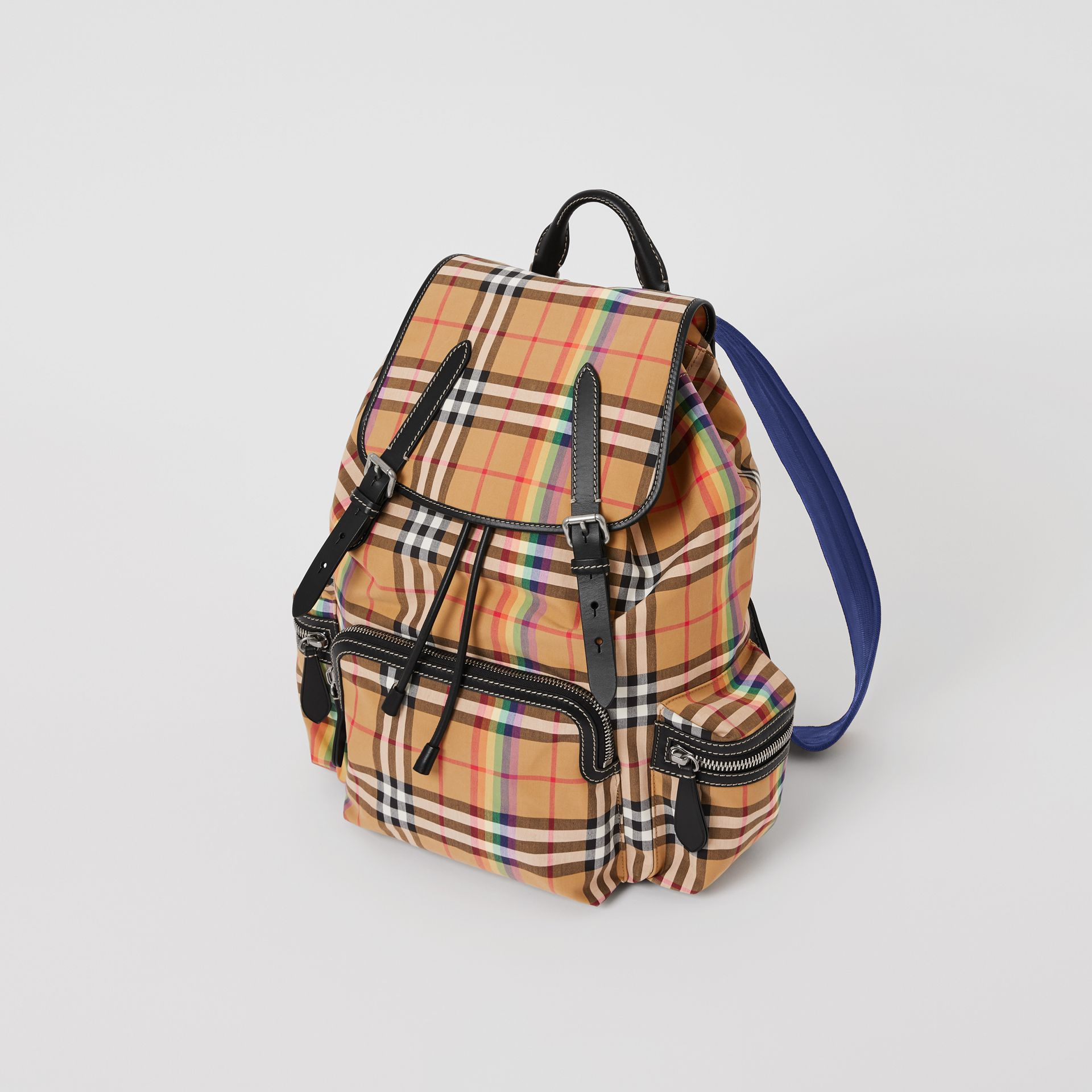 The Large Rucksack in Rainbow Vintage Check in Antique Yellow | Burberry - gallery image 4