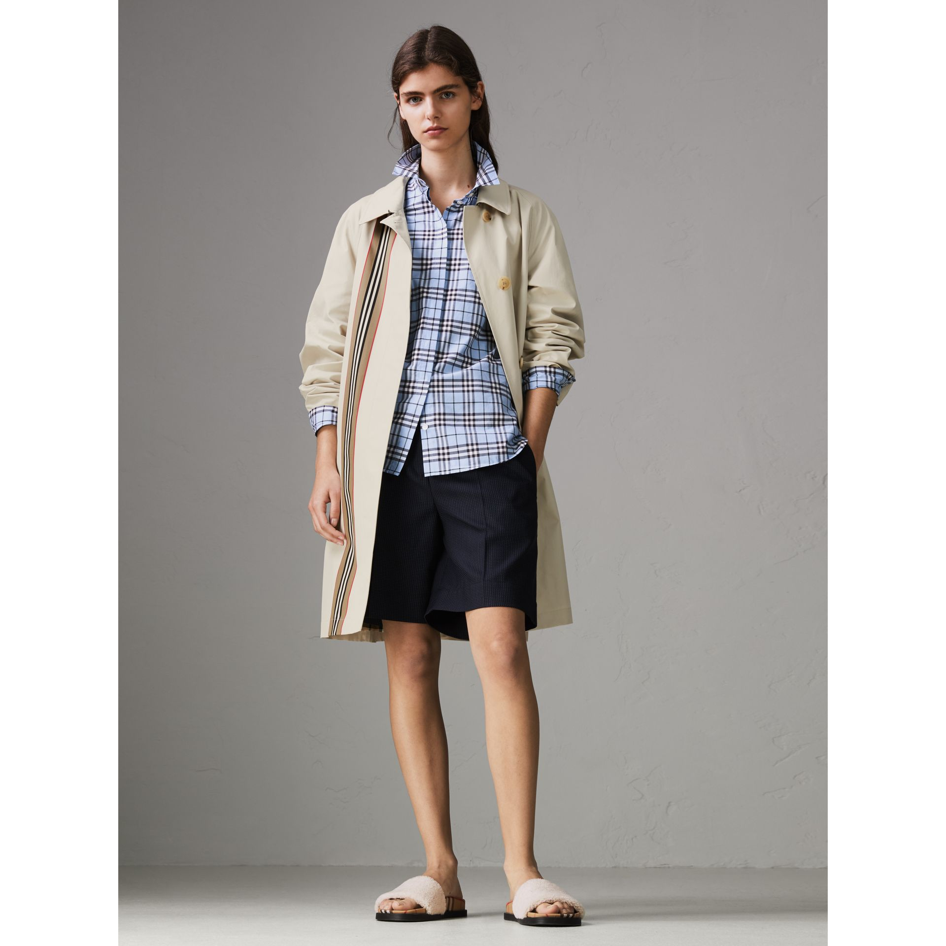 Check Cotton Shirt in Sky Blue - Women | Burberry United States - gallery image 4