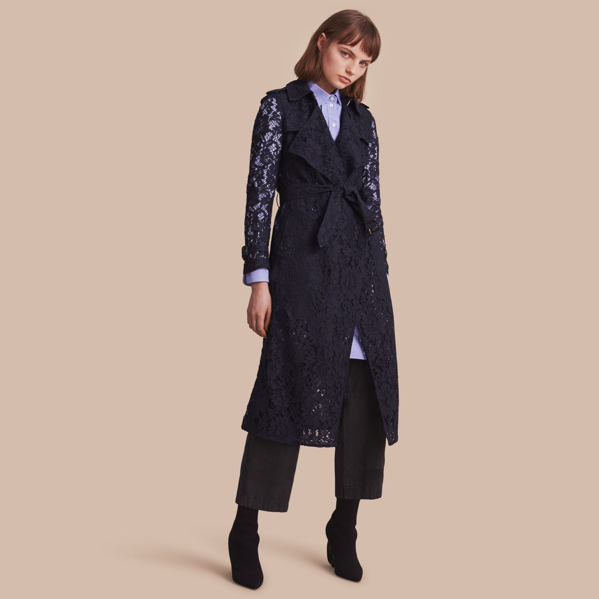 Macramé Lace Trench Coat in Navy - gallery image 1