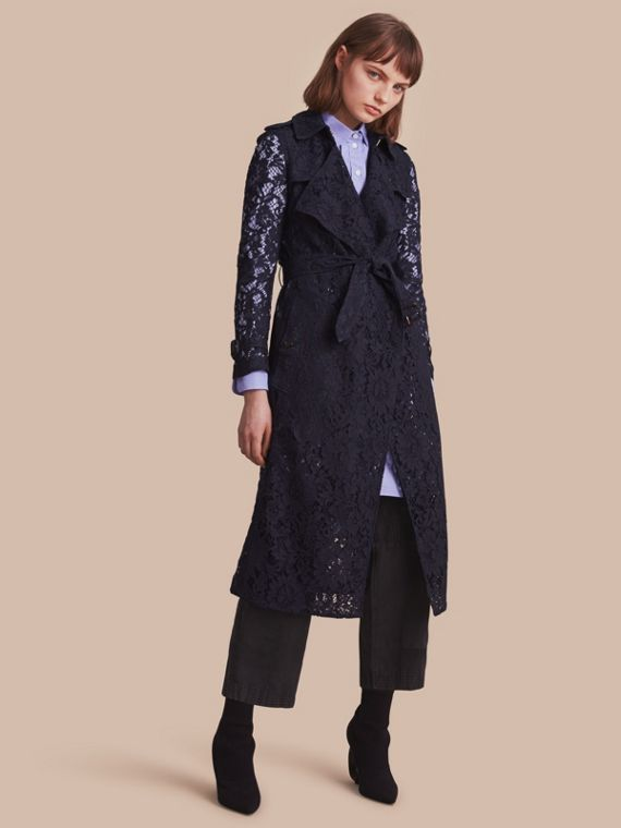 Macramé Lace Trench Coat in Navy