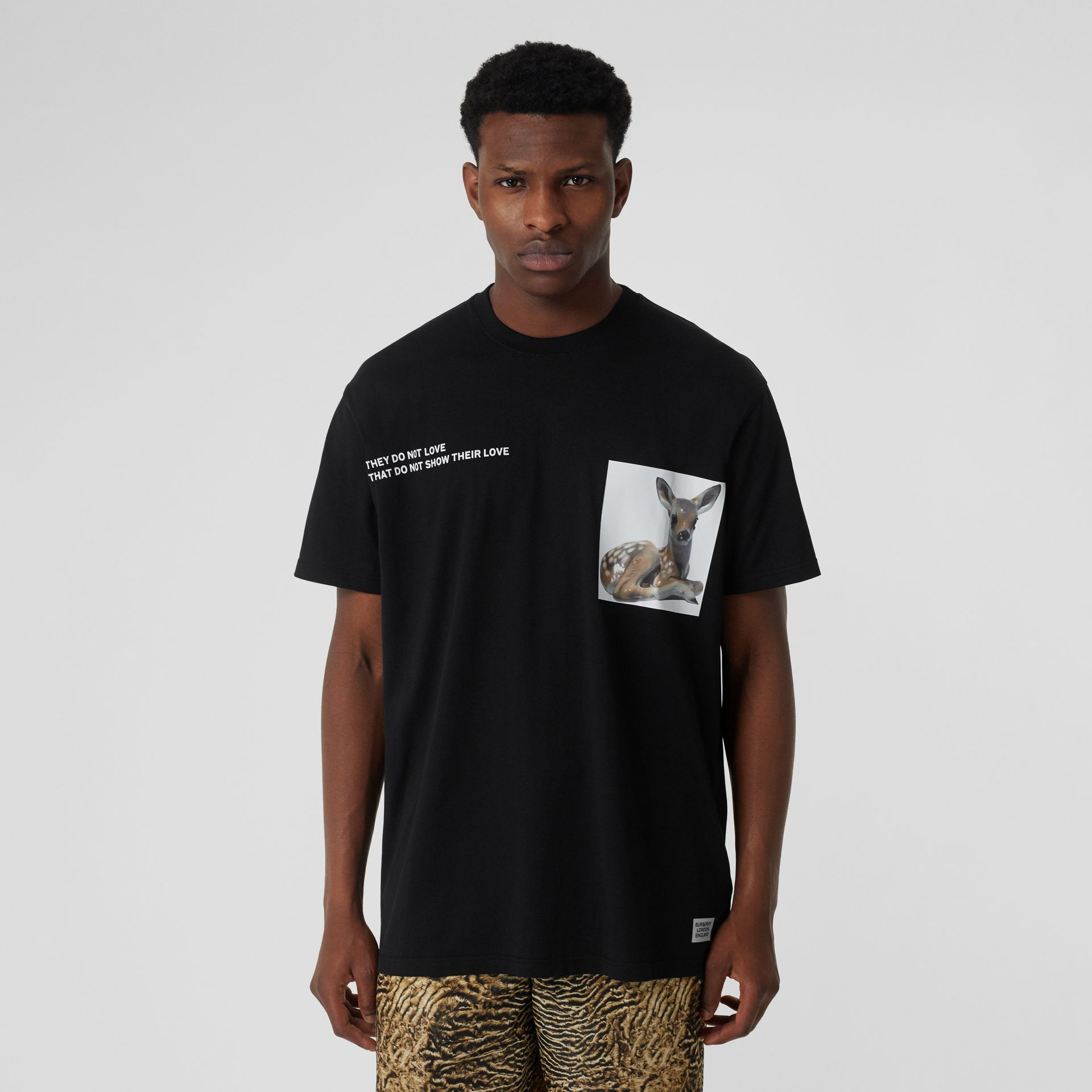 Montage Print Cotton Oversized T-shirt in Black - Men | Burberry United Kingdom - gallery image 4