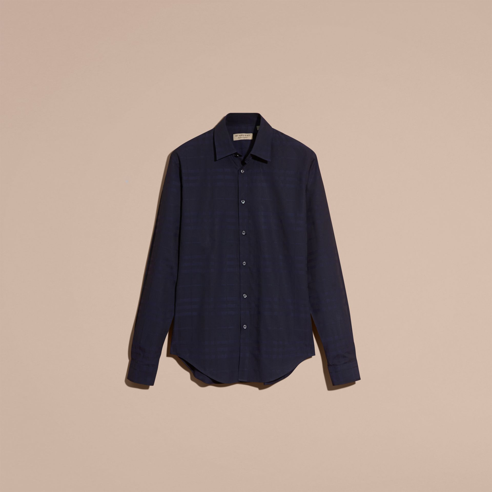 Navy Check Jacquard Cotton Shirt Navy - gallery image 4
