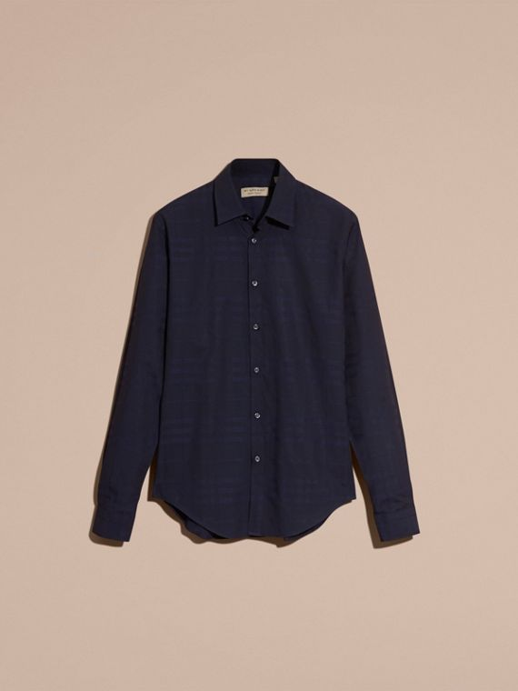 Navy Check Jacquard Cotton Shirt Navy - cell image 3