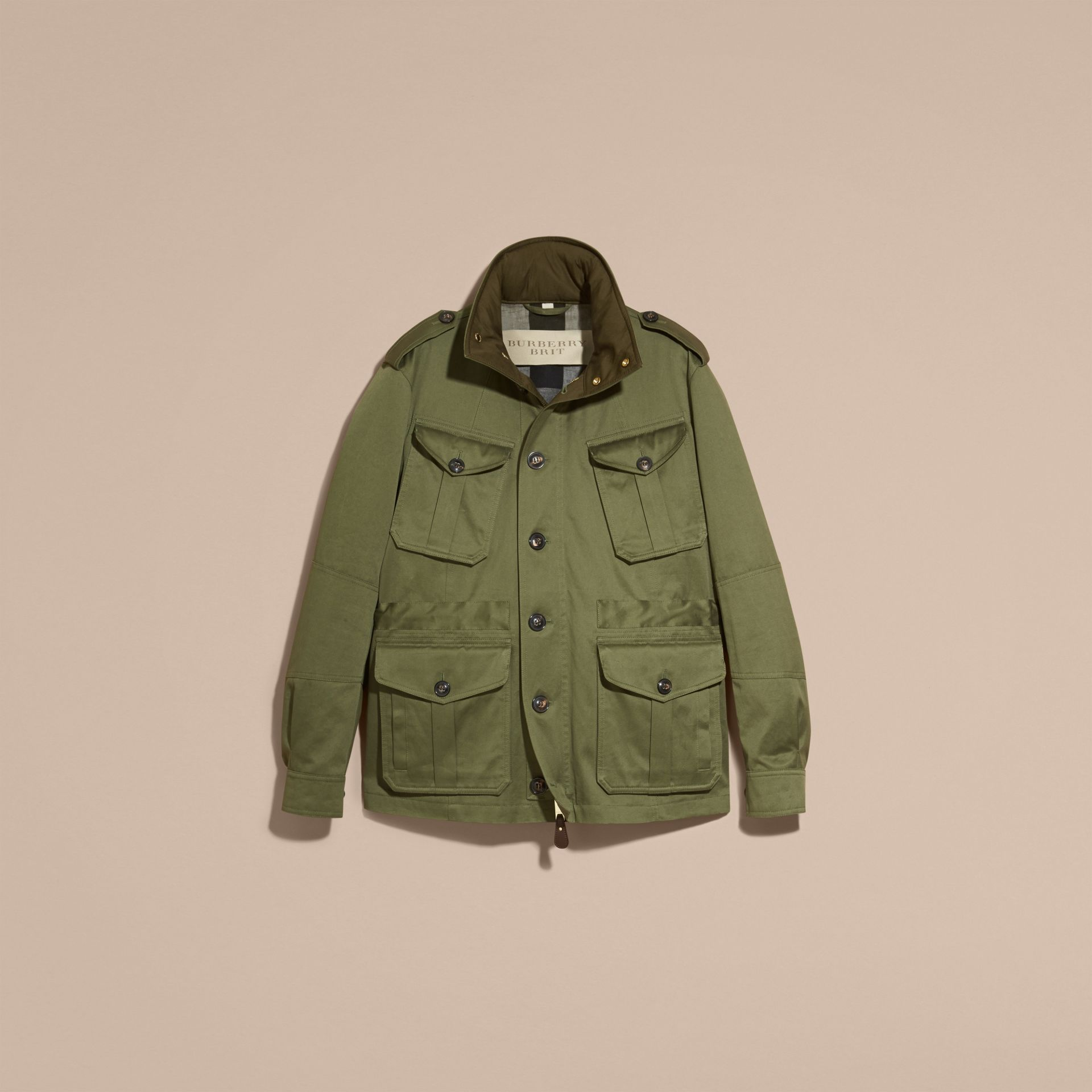 Olive Hooded Cotton Field Jacket - gallery image 4