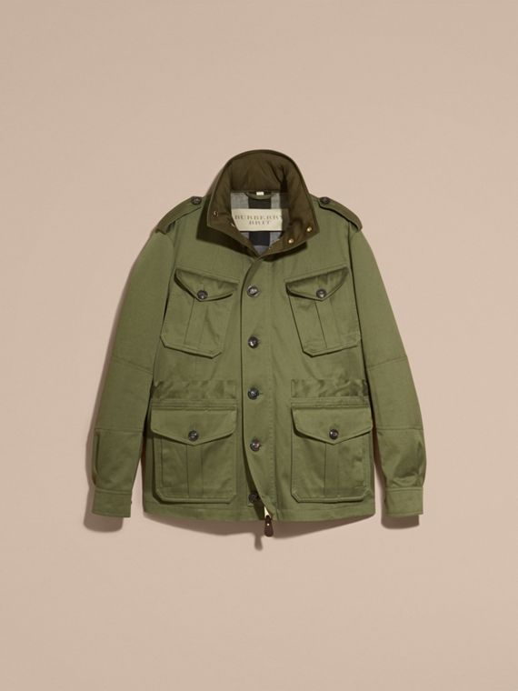 Olive Hooded Cotton Field Jacket - cell image 3