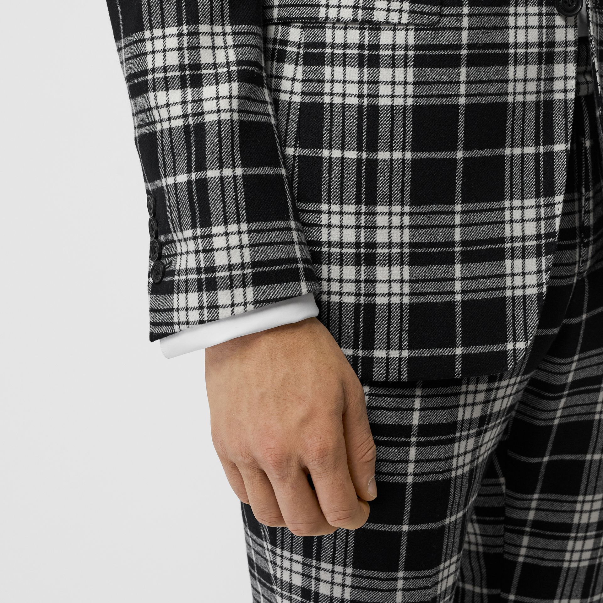 Classic Fit Tartan Wool Cashmere Tailored Jacket in Black - Men | Burberry - gallery image 1