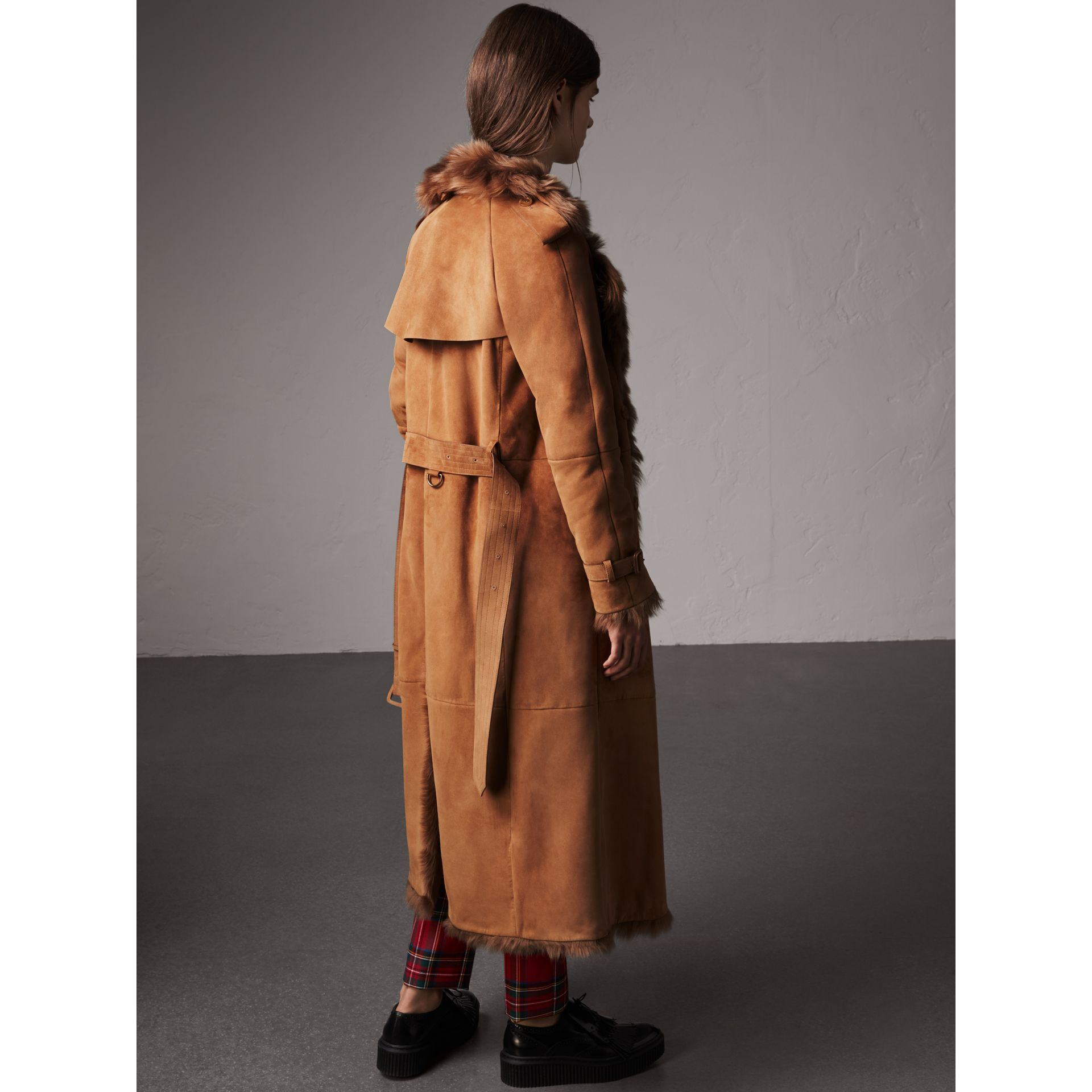 Shearling Long Trench Coat in Dark Camel - Women | Burberry - gallery image 2