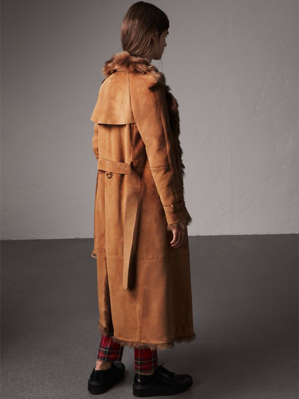 Shearling Extra-long Trench Coat in Dark Camel - Women | Burberry - cell image 2