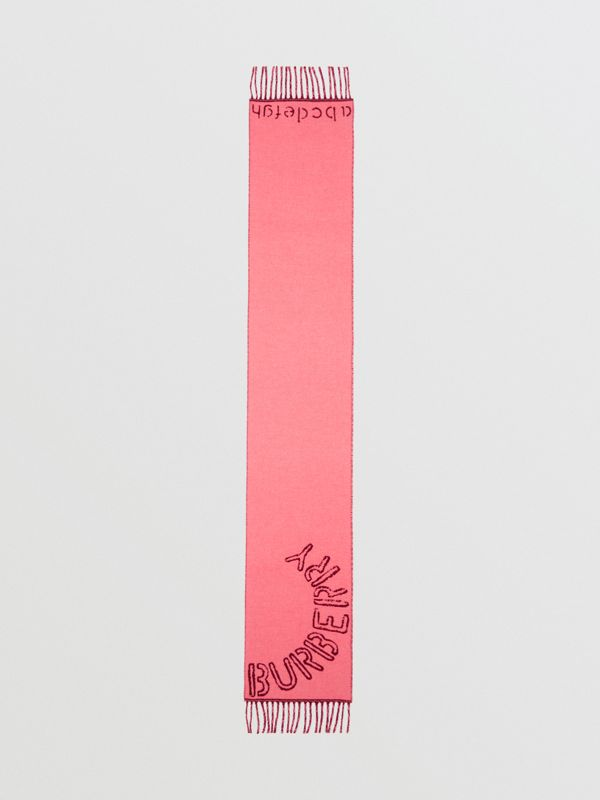 Stencil Logo Wool Cashmere Jacquard Scarf in Bright Rose - Children | Burberry - cell image 2