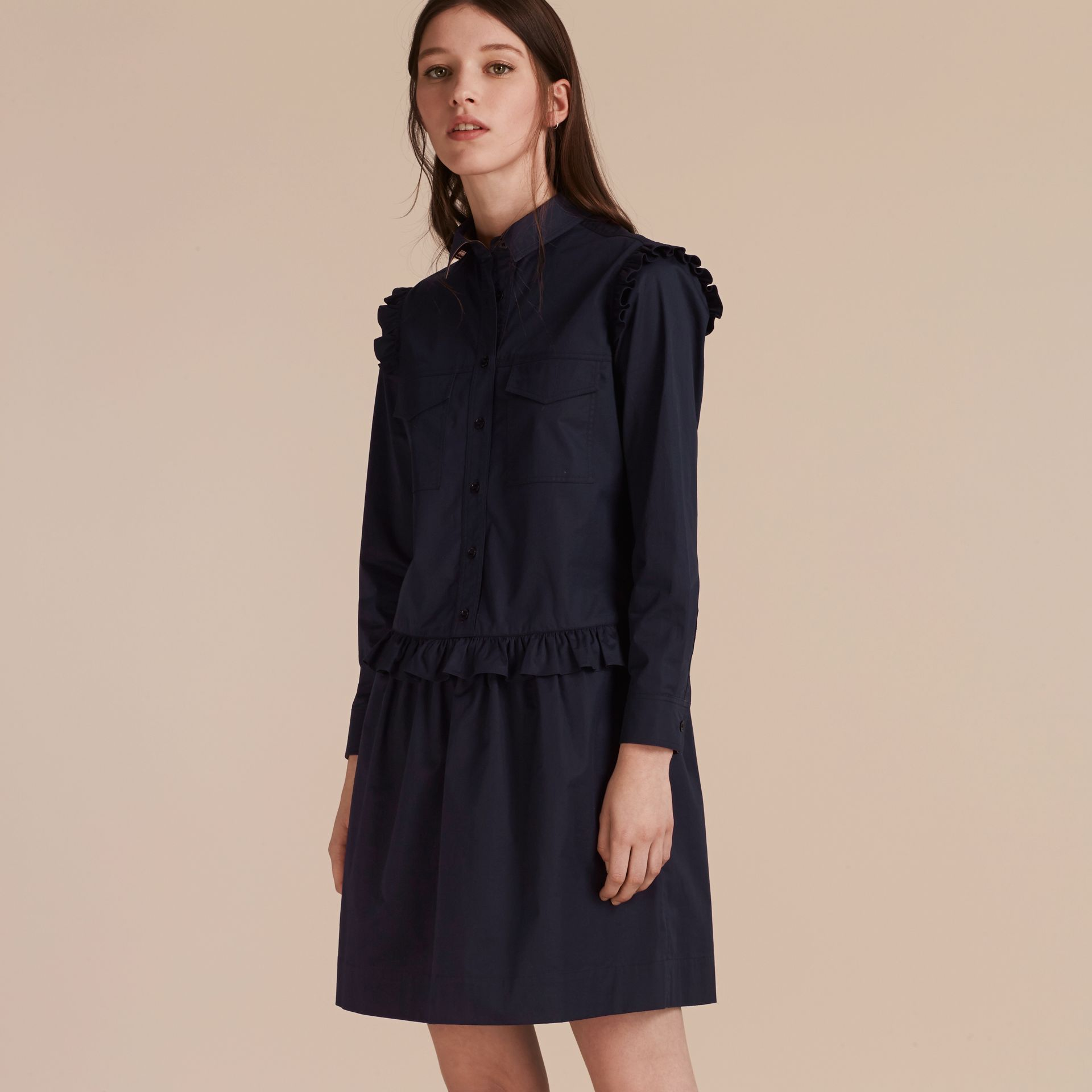 Ruffle and Check Detail Cotton Shirt Dress Navy - gallery image 7