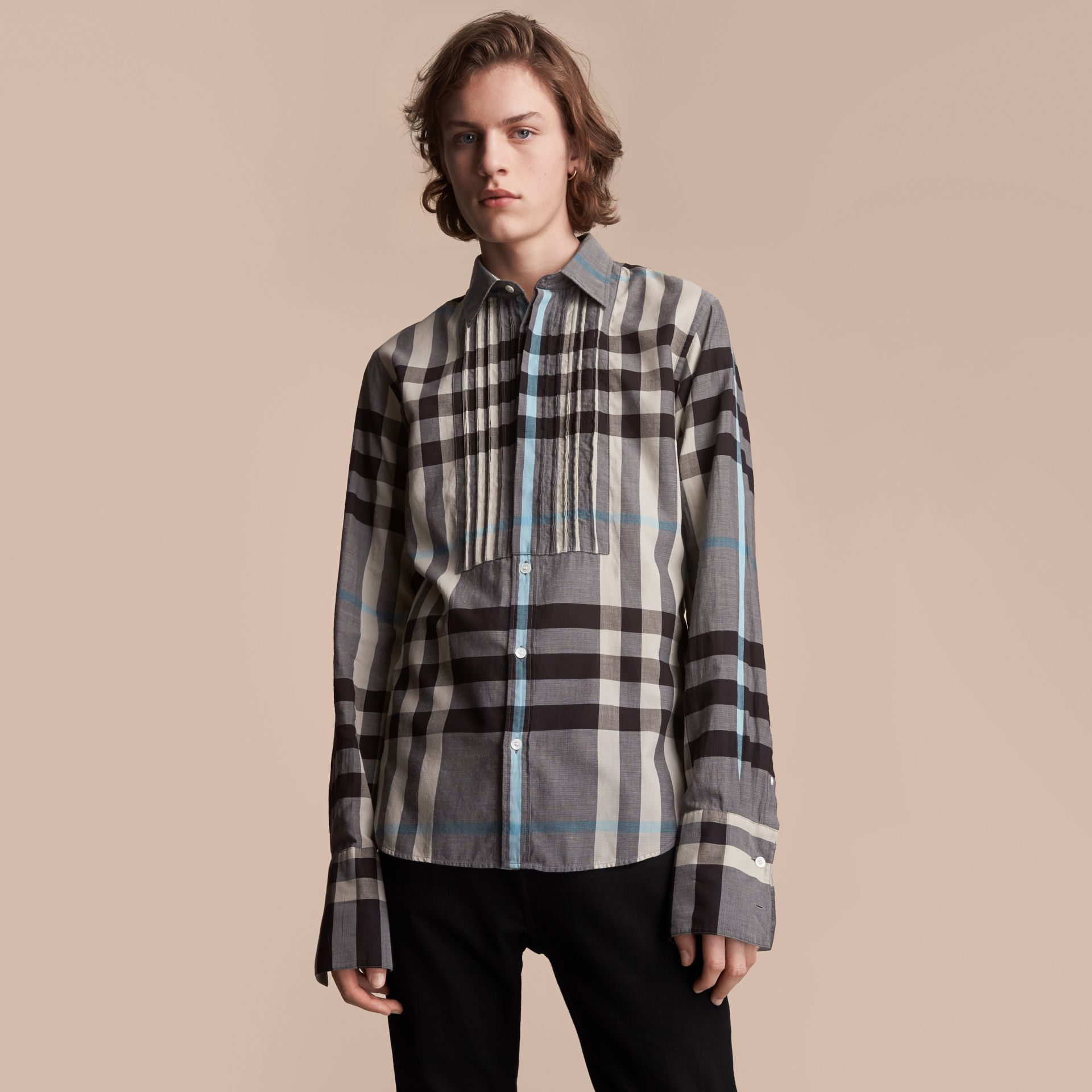 Double-cuff Pintuck Bib Check Cotton Shirt - Men | Burberry - gallery image 6