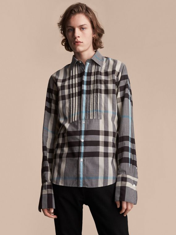 Double-cuff Pintuck Bib Check Cotton Shirt - Men | Burberry Singapore