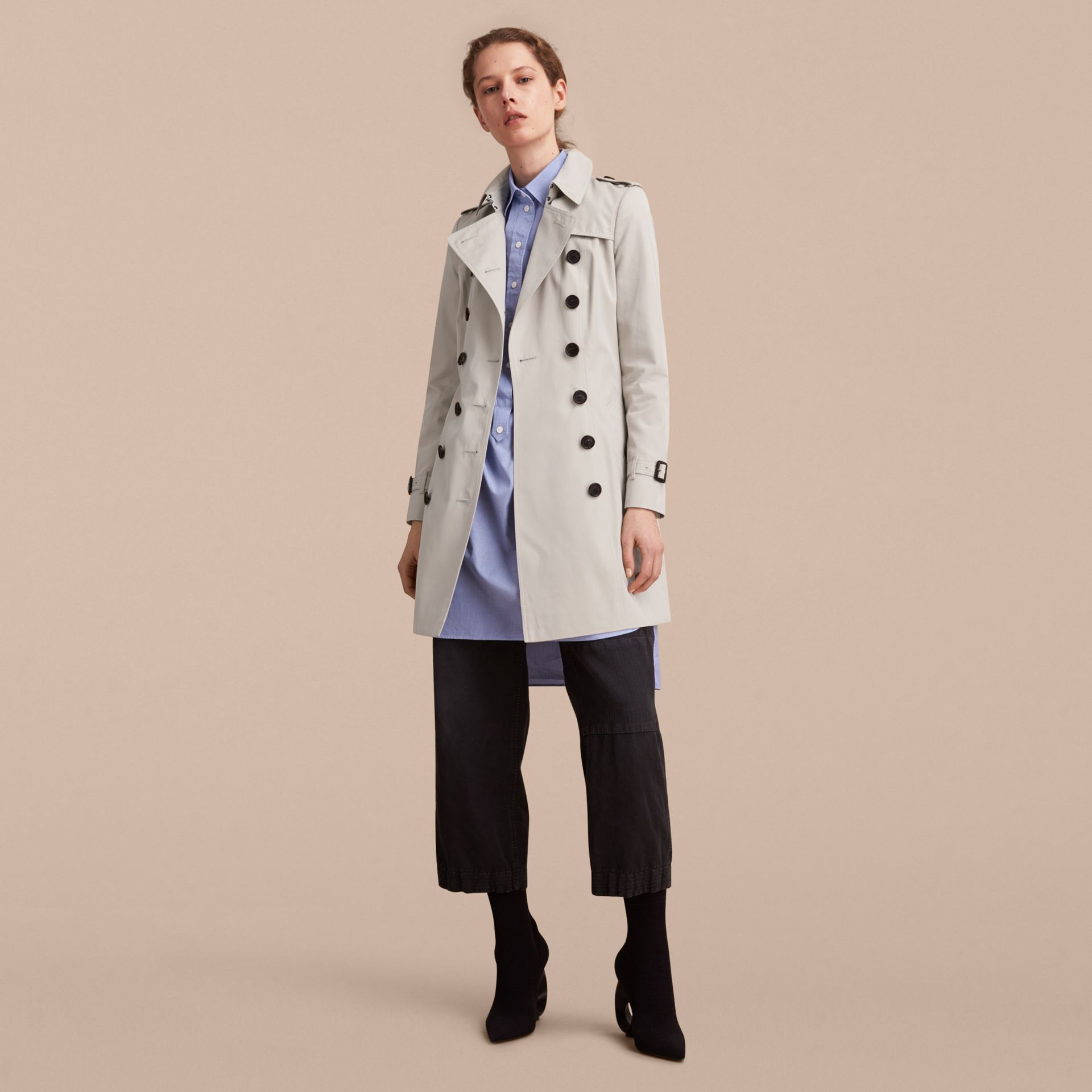 The Chelsea – Mid-length Heritage Trench Coat Stone - gallery image 1
