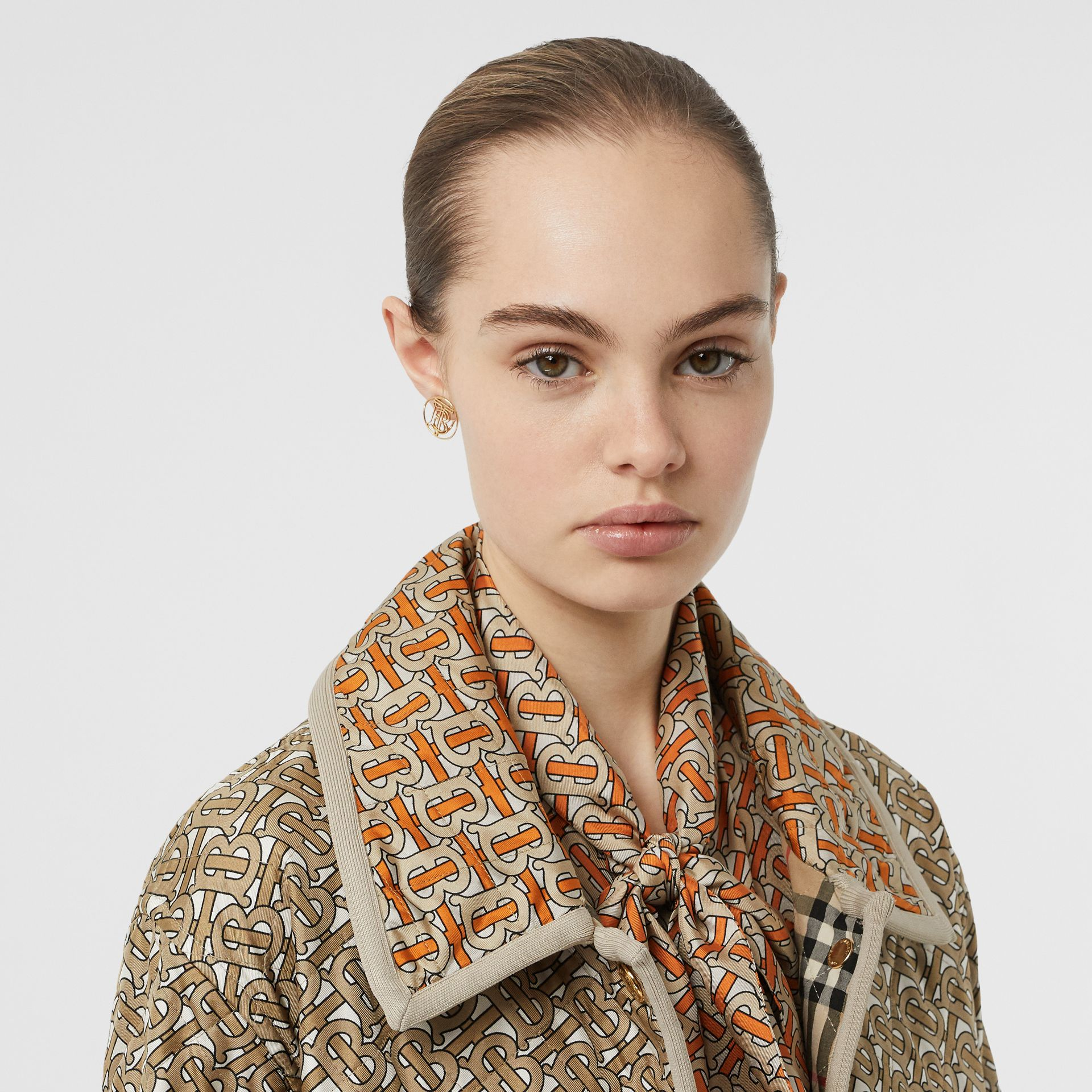 Monogram Print Quilted Silk Jacket in Archive Beige - Women | Burberry - gallery image 8