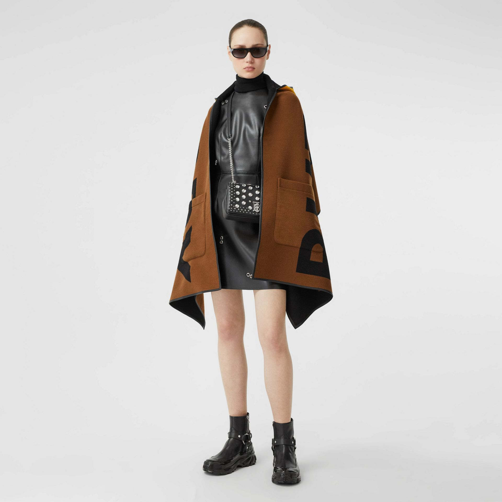 Logo Wool Cotton Jacquard Hooded Cape in Dark Chestnut Brown | Burberry - gallery image 7