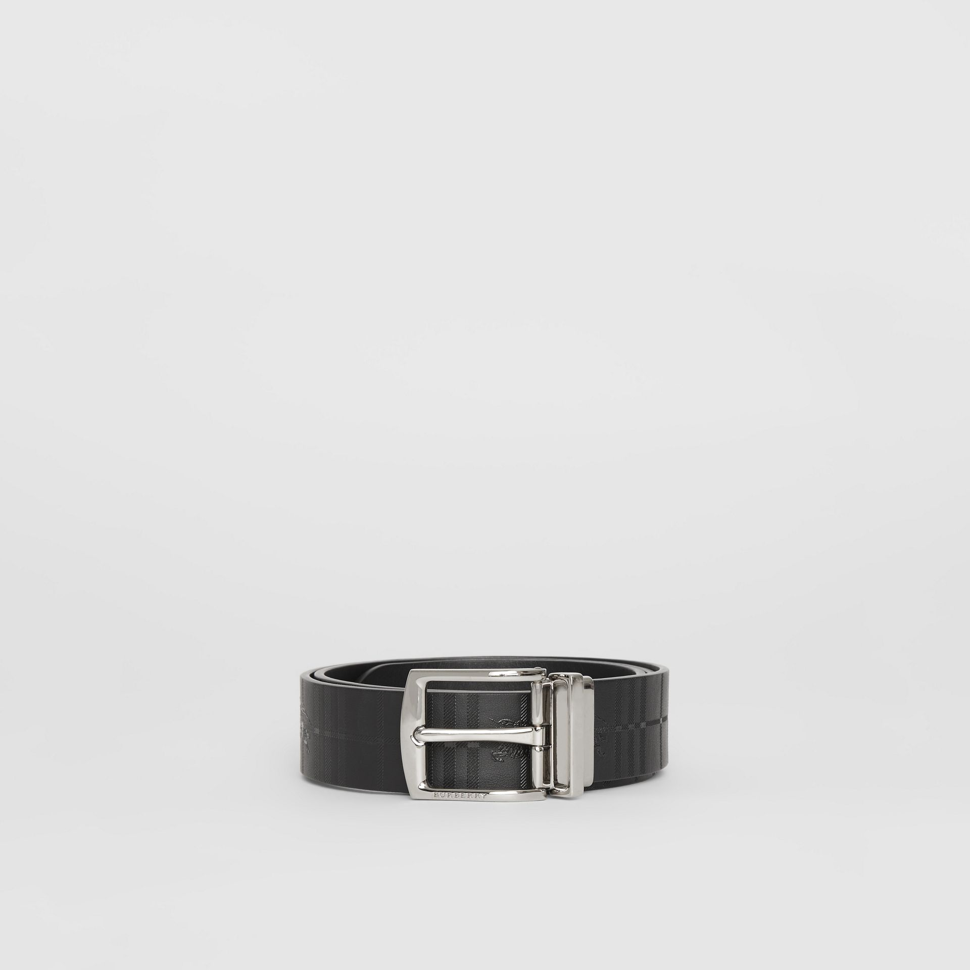 Reversible EKD Check Leather Belt in Black - Men | Burberry - gallery image 3