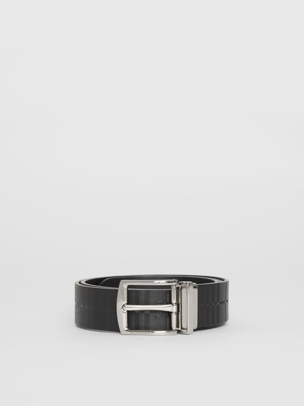 Reversible EKD Check Leather Belt in Black - Men | Burberry Singapore - cell image 3