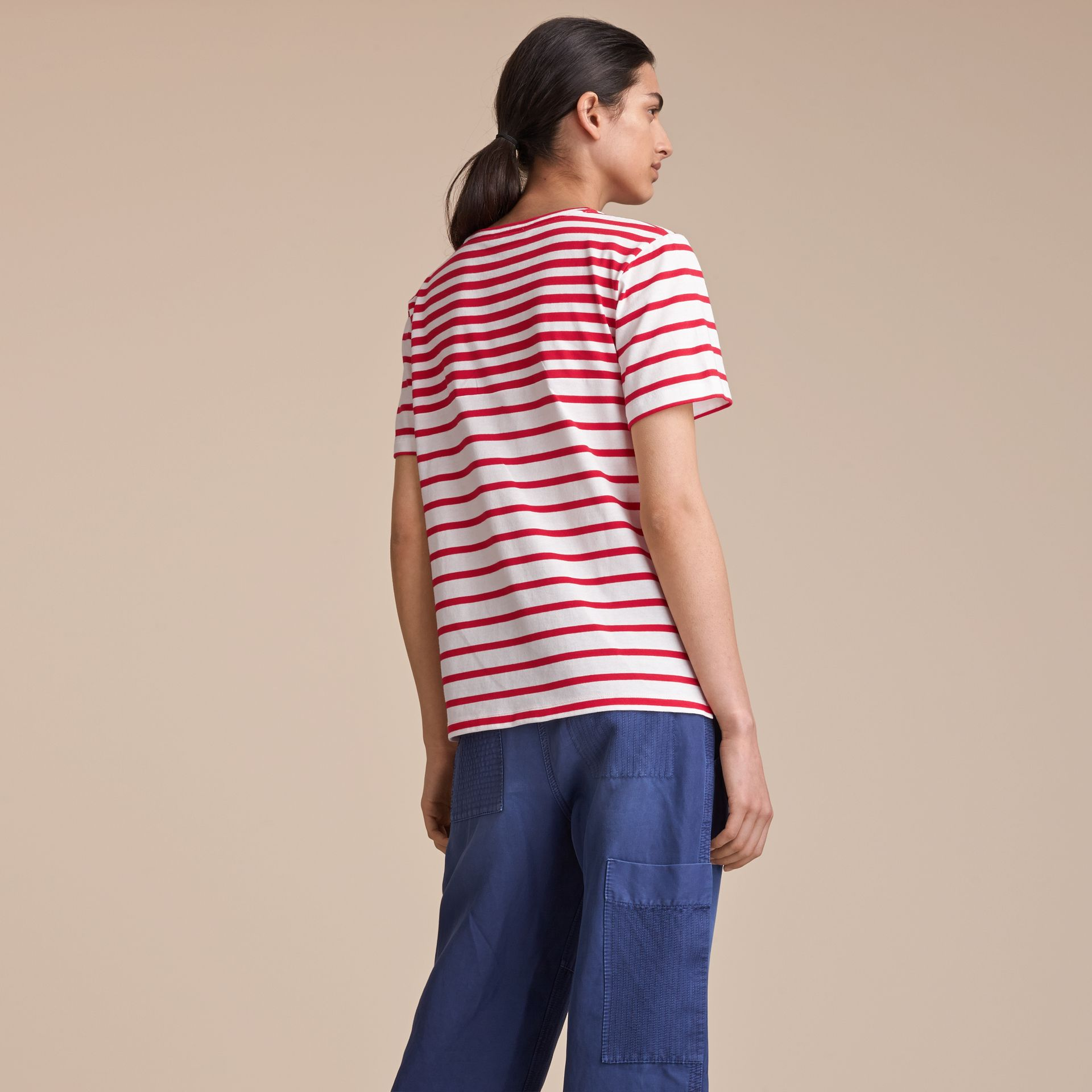 Breton Stripe Cotton T-shirt in Military Red/white - Women | Burberry United Kingdom - gallery image 3