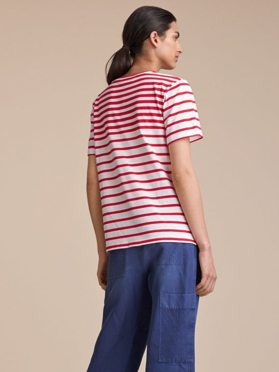 Breton Stripe Cotton T-shirt in Military Red/white - Women | Burberry Canada - cell image 2