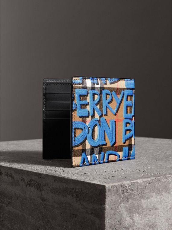 Graffiti Print Vintage Check International Bifold Wallet in Canvas Blue/antique Yellow - Men | Burberry Singapore - cell image 2