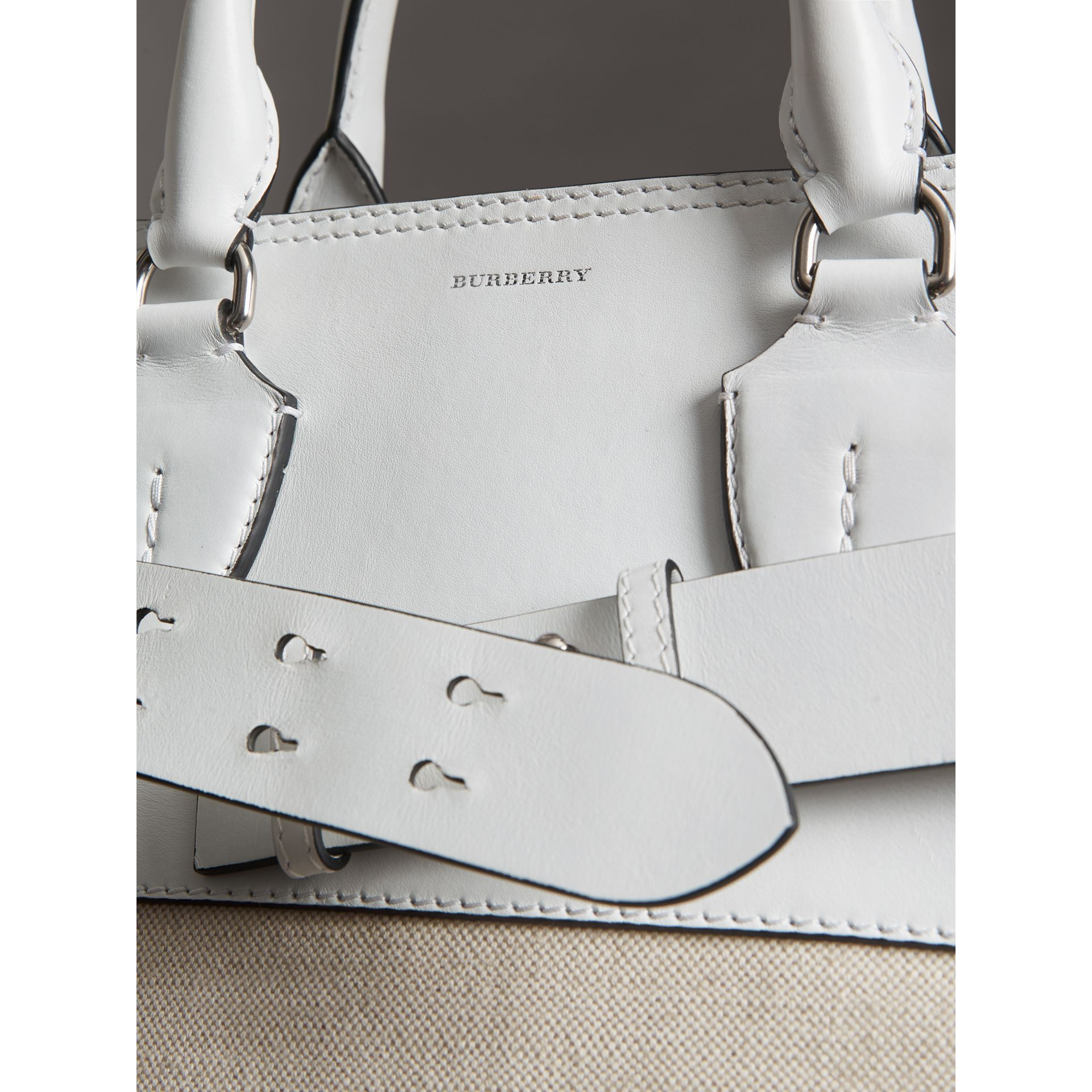 The Large Leather and Canvas Belt Bag in Chalk White | Burberry United States - gallery image 1