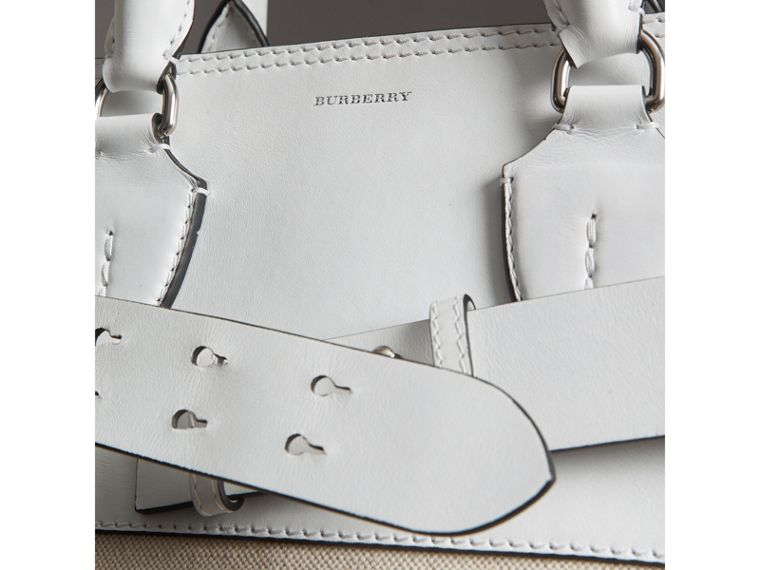 The Large Leather and Canvas Belt Bag in Chalk White | Burberry United States - cell image 1