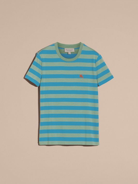 Striped Cotton T-Shirt Eucalyptus Green/chalk Blue - cell image 3