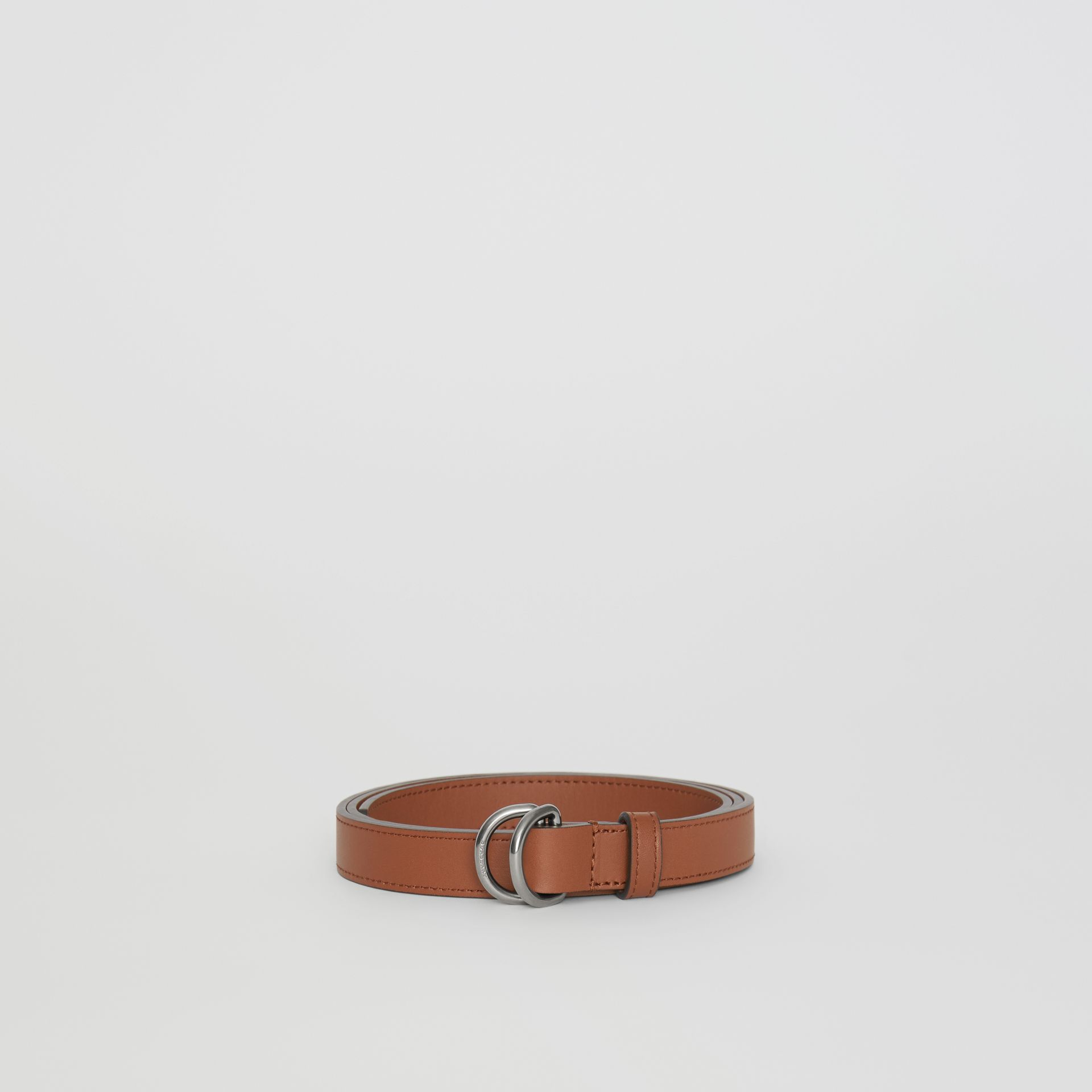 Slim Leather Double D-ring Belt in Tan/natural Silver - Women | Burberry Singapore - gallery image 3