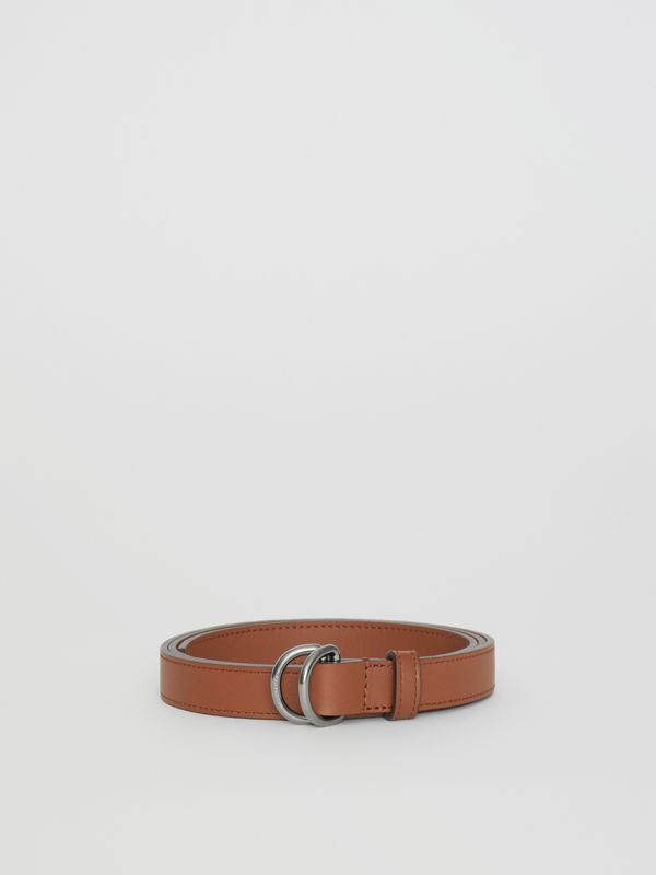 Slim Leather Double D-ring Belt in Tan/natural Silver - Women | Burberry - cell image 3