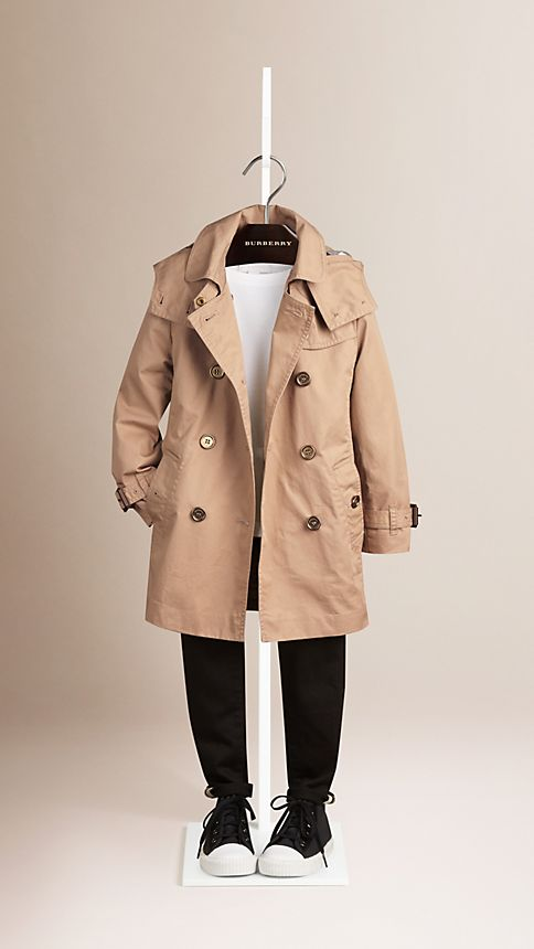 Honey Cotton Twill Detachable Hood Trench Coat - Image 2