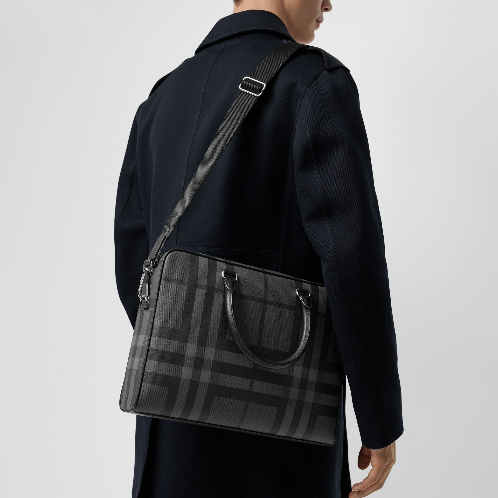 London Check and Leather Briefcase in Charcoal/black - Men | Burberry Australia - gallery image 3