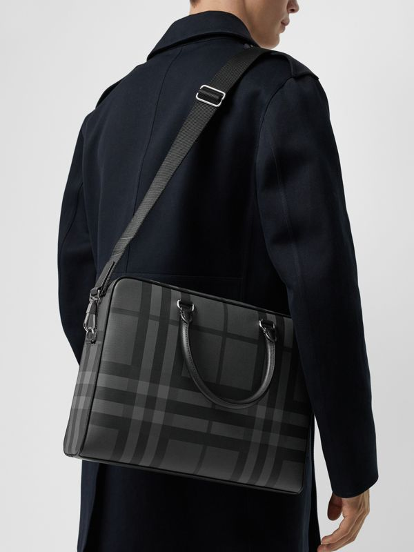 London Check and Leather Briefcase in Charcoal/black - Men | Burberry - cell image 3