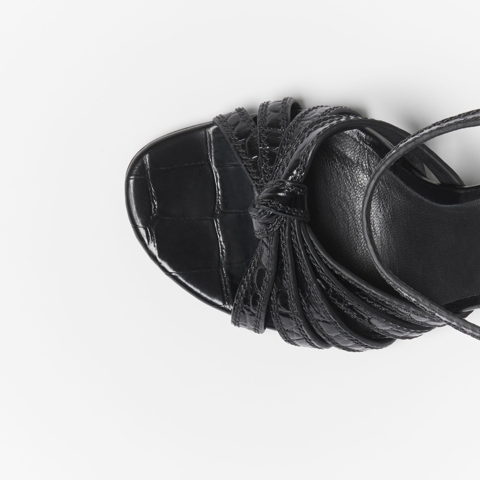 Knot Detail Embossed Leather Sandals in Black - Women | Burberry United States - gallery image 1
