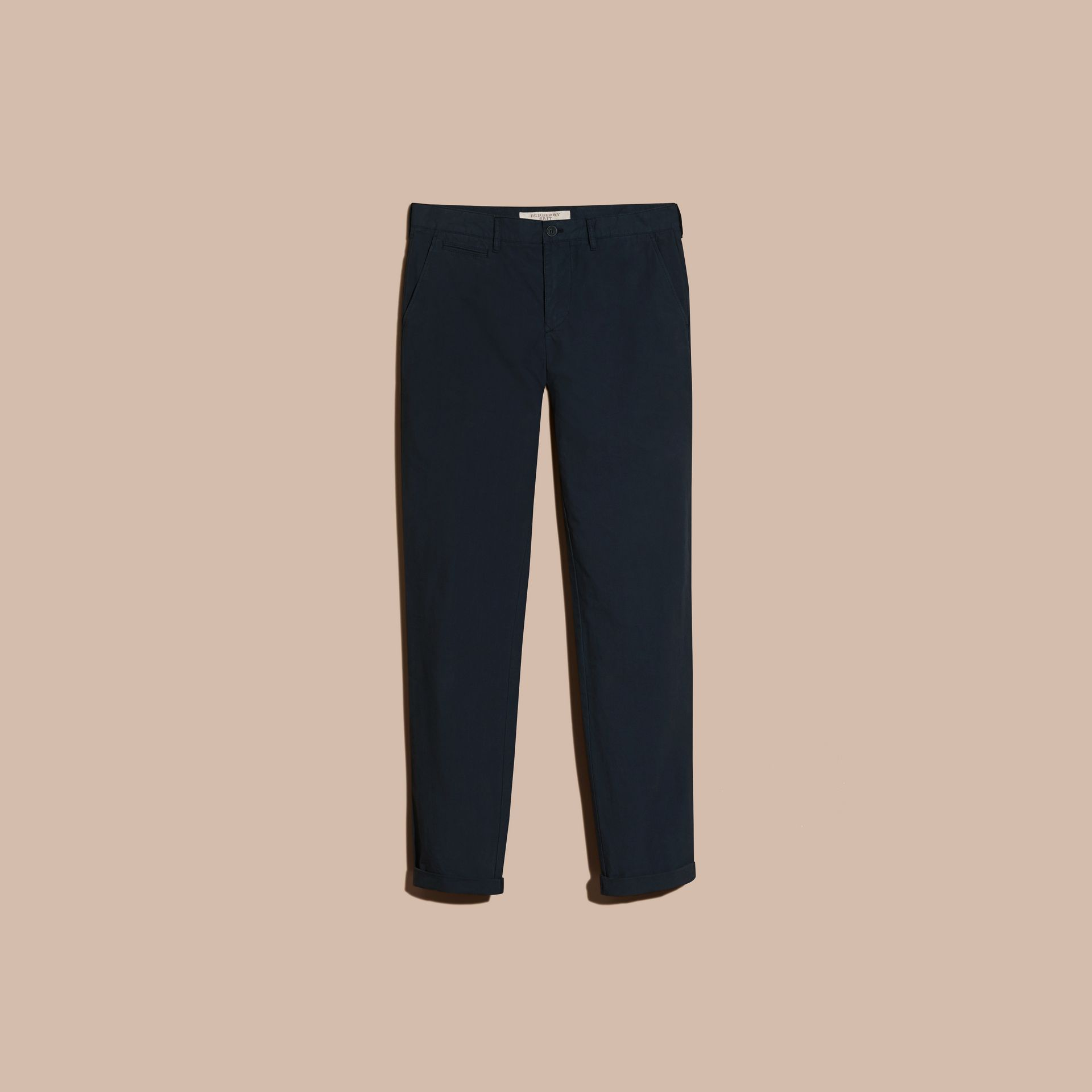 Indigo Slim Fit Cotton Poplin Chinos Indigo - gallery image 4