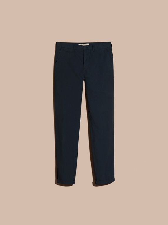 Slim Fit Cotton Poplin Chinos in Indigo - cell image 3
