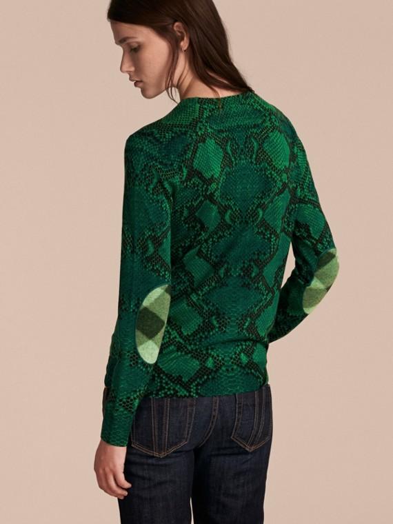顏料綠 格紋裝飾蟒紋美麗諾羊毛套頭衫 顏料綠 - cell image 2