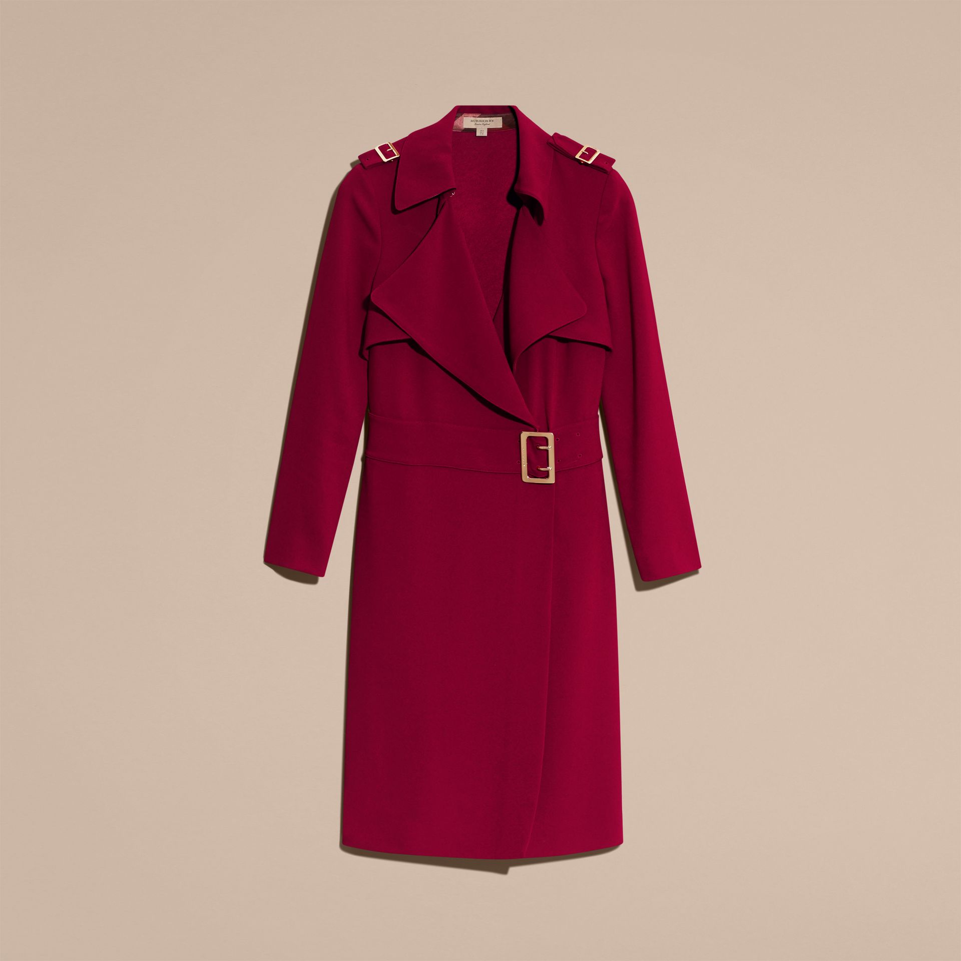 Garnet Buckle Detail Satin-back Crepe Trench Dress Garnet - gallery image 4