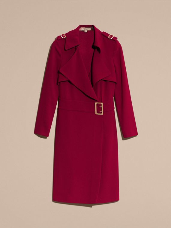 Garnet Buckle Detail Satin-back Crepe Trench Dress Garnet - cell image 3