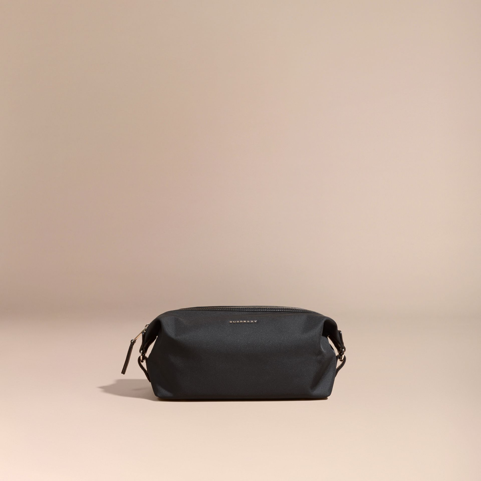 Black Leather Trim Washbag - gallery image 1