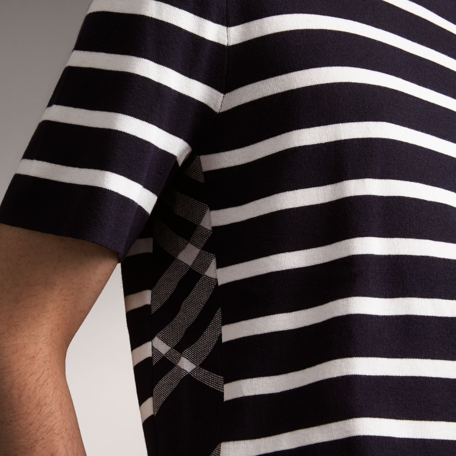 Check Detail Striped Silk Cotton T-shirt in Navy - Men | Burberry - gallery image 4