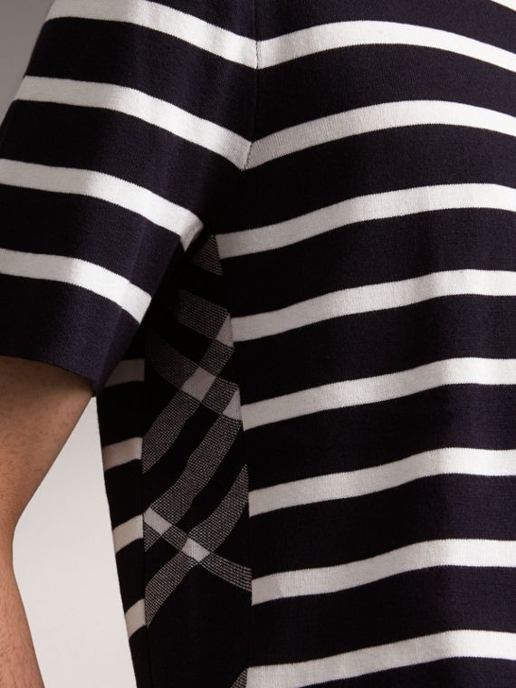 Check Detail Striped Silk Cotton T-shirt in Navy - Men | Burberry - cell image 3