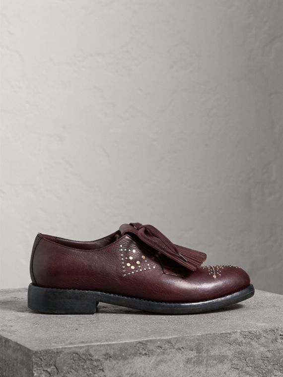 Lace-up Kiltie Fringe Riveted Leather Loafers in Cerise Purple - Women | Burberry - cell image 3
