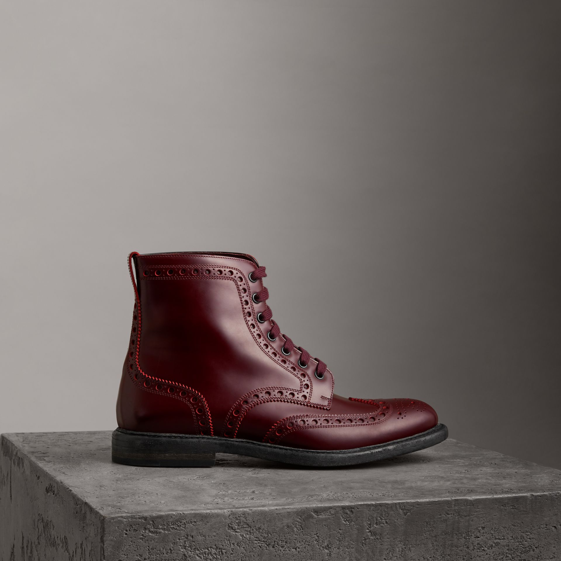 Brogue Detail Polished Leather Boots in Ebony Red - Men | Burberry - gallery image 0