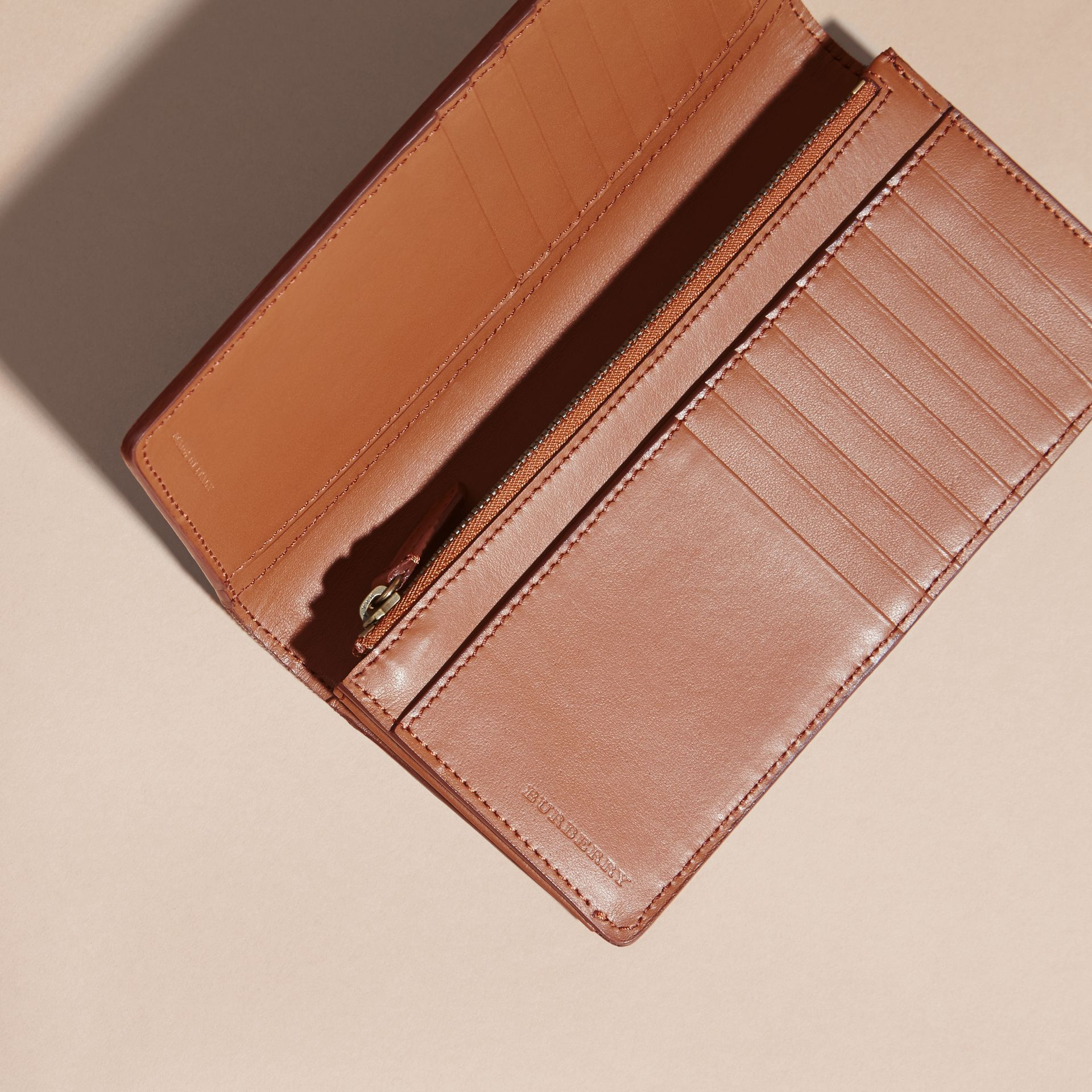 House Check and Grainy Leather Continental Wallet Russet - gallery image 6