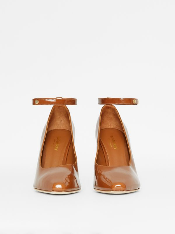Triple Stud Patent Leather Point-toe Pumps in Tan - Women | Burberry - cell image 2