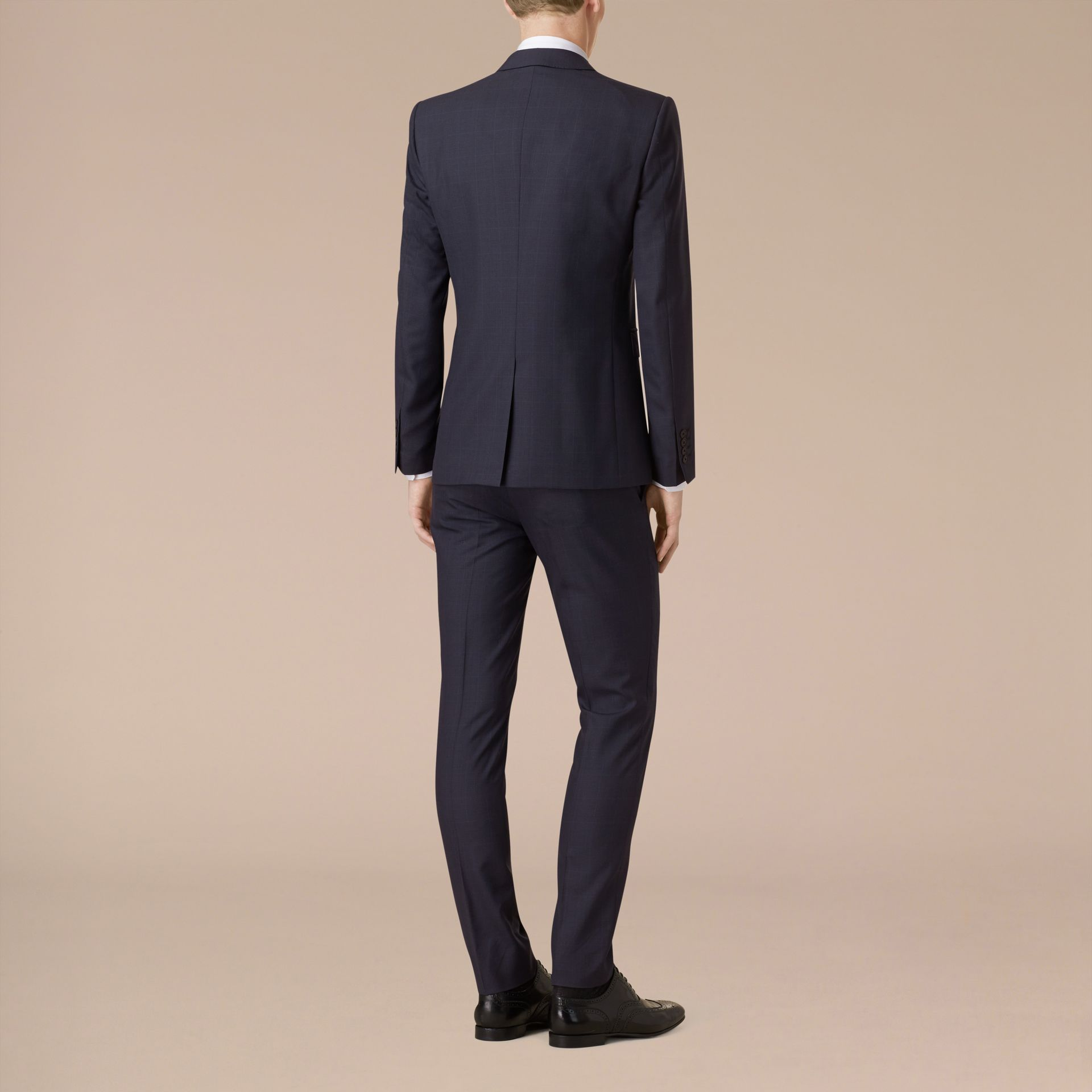Navy Slim Fit Check Wool Part-canvas Suit - gallery image 2