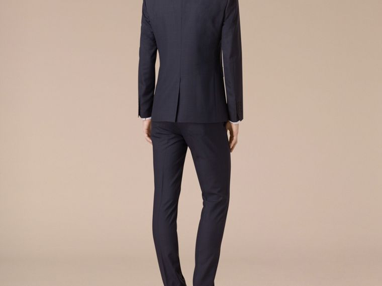 Navy Slim Fit Check Wool Part-canvas Suit - cell image 1