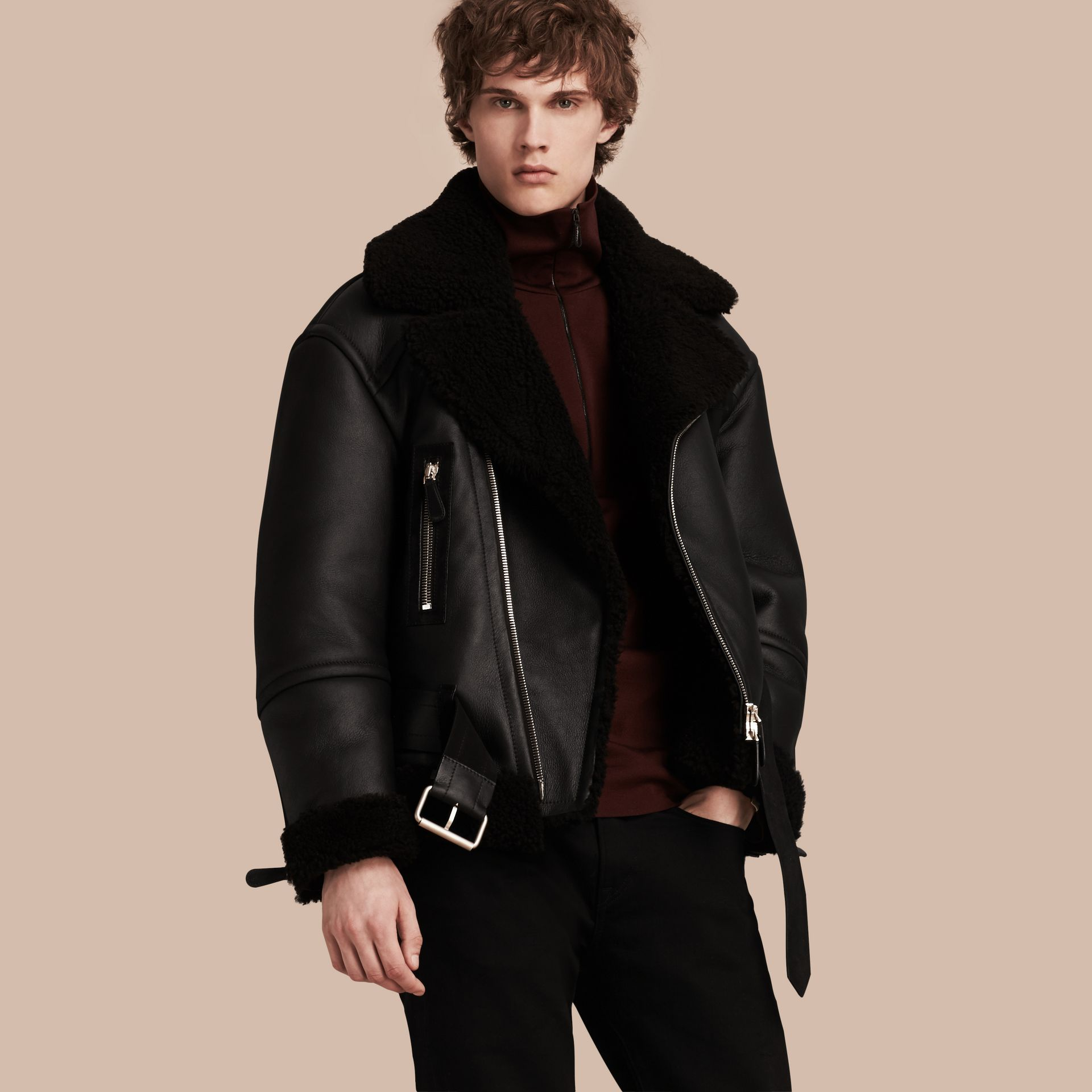 Black Oversize Shearling Flight Jacket - gallery image 1