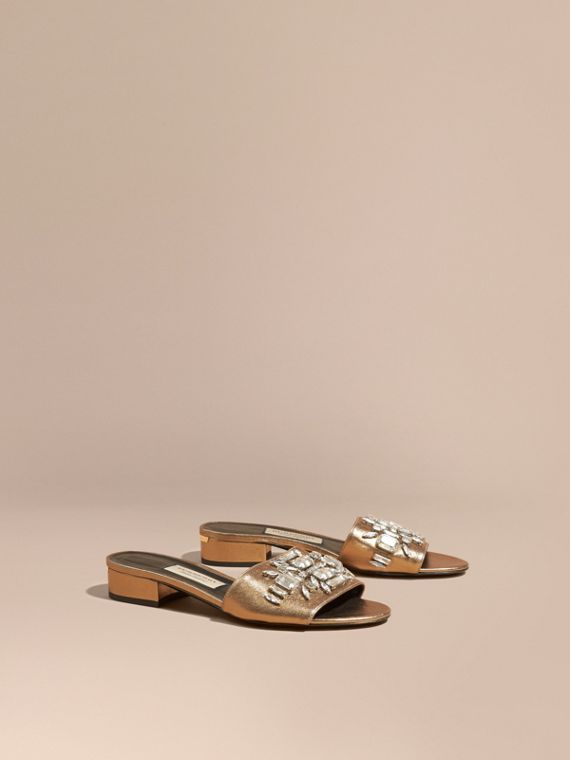 Leather Gem-embellished Slip-on Sandals